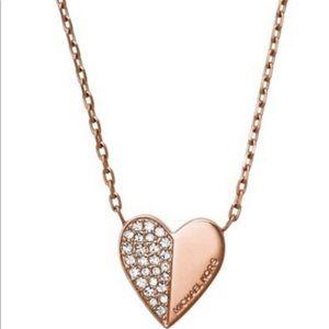 Michael Kors Rose gold heart-pendant necklace